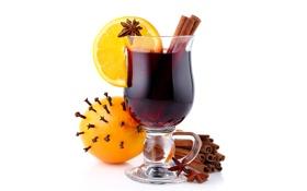 Картинка бокал, апельсины, напиток, фрукты, корица, цитрусы, гвоздика