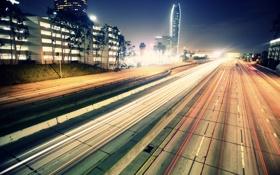 Картинка дорога, ночь, город, огни, фото, фон, движение