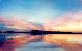 Обои вода, закат, озеро, гладь, берег