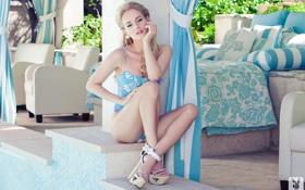Картинка купальник, девушка, блондинка, туфли, Gabi