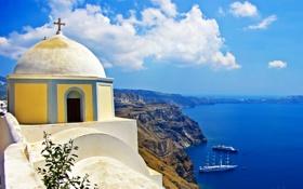 Обои море, облака, скалы, берег, остров, корабли, Греция