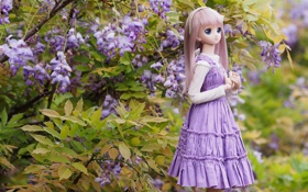 Картинка природа, игрушка, кукла, аниме, платье, длинные волосы