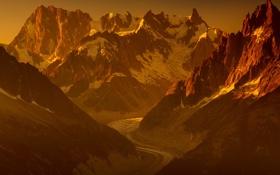 Обои закат, горы, снег, небо, ледник