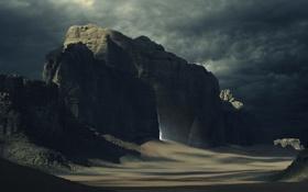 Картинка горы, тучи, люди