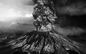 Картинка Вулкан, Извержение, Пепел, Столб Пепла