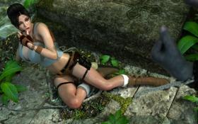 Обои грудь, девушка, ноги, шорты, джунгли, lara croft, tomb raider