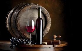 Обои вино, красное, бокал, бутылка, виноград, бочка, бочонок