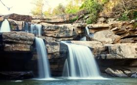 Картинка landscape, камни, лес, waterfall, stones, водопад, forest