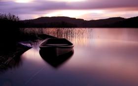 Обои закат, небо, лодка, озеро