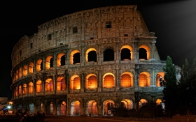 Картинка ночь, город, Рим, руины