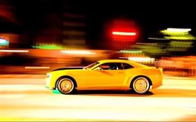 Картинка желтый, скорость, Камаро, Camaro