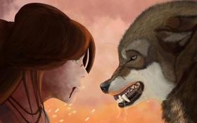 Обои девушка, лицо, кровь, волосы, волк, хищник, арт