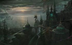 Обои город, рептилии, арт, kazamasa uchio, будущее, ucchiey, дракон