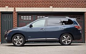 Картинка синий, Nissan, автомобиль, вид сбоку, Hybrid, Pathfinder