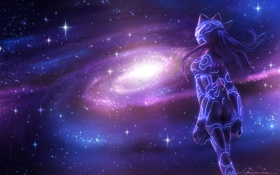Картинка космос, звезды, рисунок, Девушка, галактика