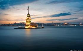 Обои закат, море, вечер, Стамбул, островок, Sultanahmet, Девичья башня