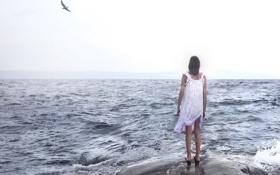 Картинка море, девушка, настроение, чайка