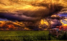 Обои поле, небо, пейзаж, тучи