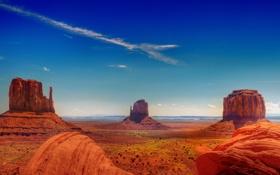 Обои небо, скалы, США, штат Юта, Долина монументов