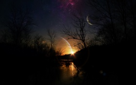 Обои ночь, планеты, Свет