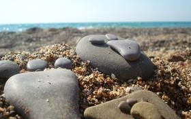 Обои песок, пляж, лето, след, камень, море