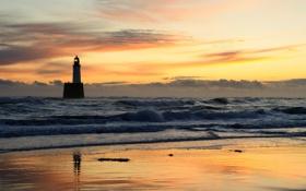 Картинка закат, пейзаж, небо, маяк, вечер, волны, море