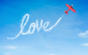 Обои самолёт, любовь, Love message, послание, голубое, небо