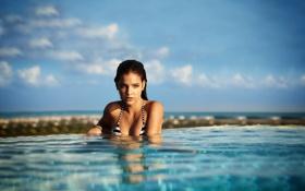 Картинка секси, темный фон, бассейн, красавица, summer, pool, water