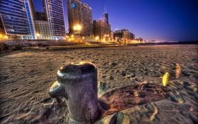 Обои пляж, ночь, небоскребы, америка, чикаго, Chicago
