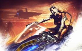 Обои woman, water, helicopter, blonde, vehicle
