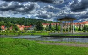 Обои трава, облака, город, фото, HDR, Германия, Bad Liebenstein