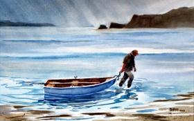 Обои акварель, лодка, пейзаж, картина, море