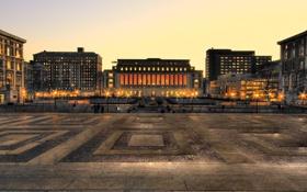 Картинка огни, здания, площадь, hdr