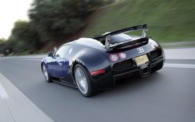 Обои синий, скорость, veyron, bugatti, блюр, speed, 16.4