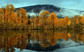 Картинка пейзаж, горы, осень, озеро