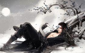 Обои снег, дерево, змея, маска, арт, парень, лежа