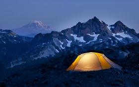 Обои снег, высота, Горы, вершина, палатка