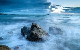 Картинка море, волны, закат, камни