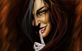 Обои глаза, девушка, лицо, рука, арт, палец, клыки