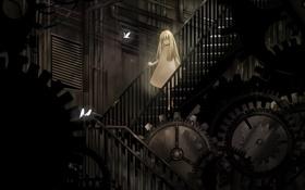 Картинка птицы, механизм, лестница, Девочка