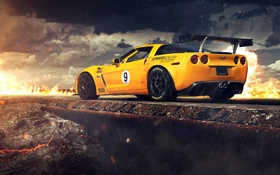 Обои Corvette, Chevrolet, Clouds, Fire, Rock, Yellow, Tuning