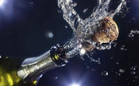 Обои брызги, праздник, бутылка, пробка, шампанское