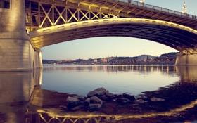 Обои мост, огни, река, вечер, Венгрия, Будапешт