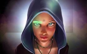 Обои глаза, взгляд, девушка, лицо, капюшон, devil may cry, Kat