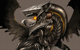 Картинка light, metal, Dragon, robot, wings, body, head