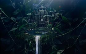 Картинка лес, город, озеро, водопад, empyraen