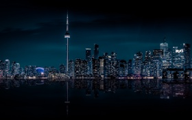 Картинка City, Canada, Night, Skyline, Ontario, Toronto, Cityscape