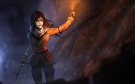 Обои факел, стрела, Tomb Raider, art, Lara Croft