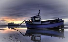 Обои море, пейзаж, закат, корабли, лодки