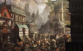 Картинка город, здания, арт, памятник, постройки